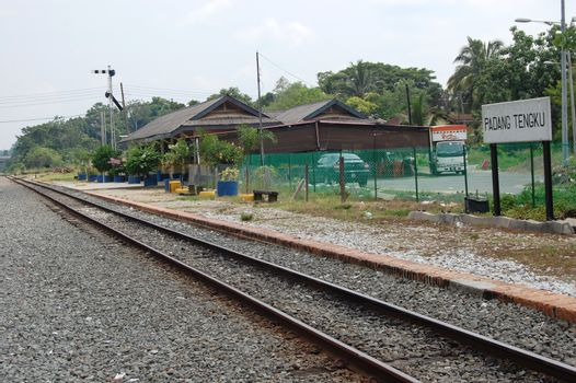 Railway platform at station in outback of Malaysia