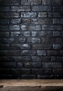 Brick wall and table