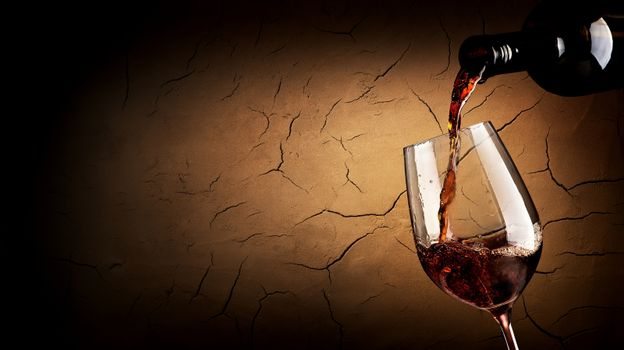 Pouring wine in cellar