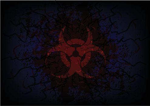 biohazard symbol and bloody background