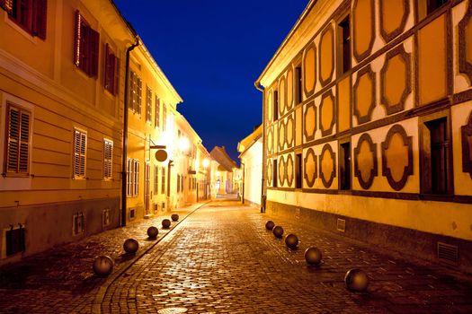City of Varazdin historic street evening view, northern Croatia