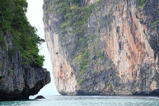 Limestone rocks and sea