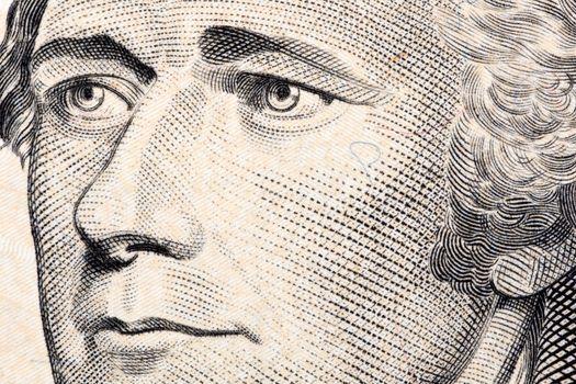 Alexander Hamilton, a close-up portrait