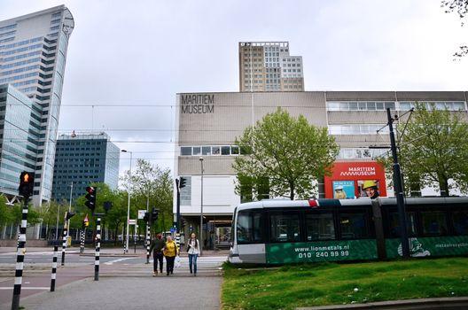 Rotterdam, Netherlands - May 9, 2015: People around maritime museum in Rotterdam.