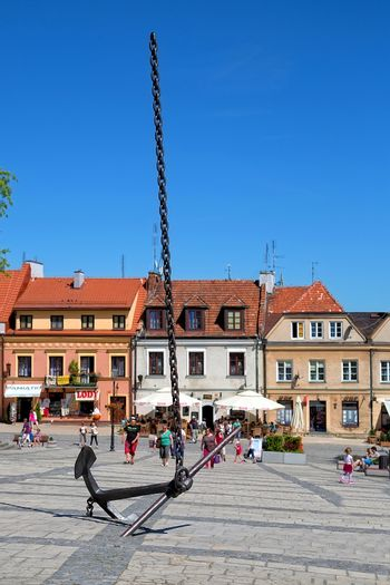 Sculpture Anchor heaven in the Old Town of Sandomierz in Poland