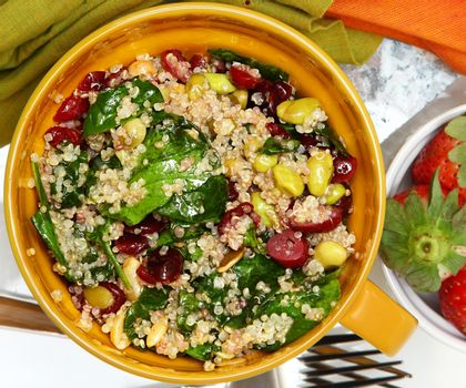 Above View Cranberry Quinoa Salad and Strawberries