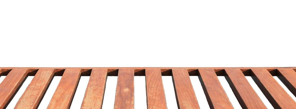 Long wood bench for sitting isolated on white background