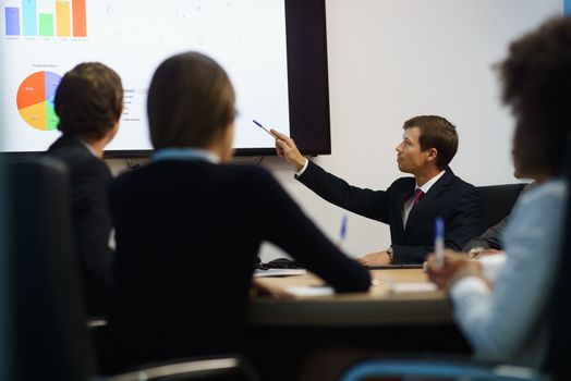 Manager Doing Presentation At Office Meeting With Charts On TV