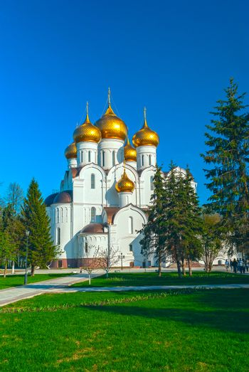 Ancient ortodox christian curch with golden domes