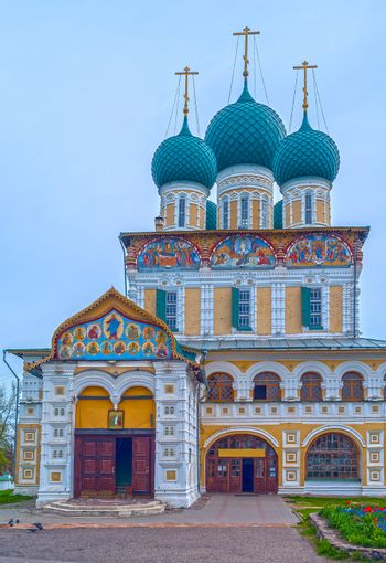 Ancient Russian Orthodox church in the city Tutayev on river Vol