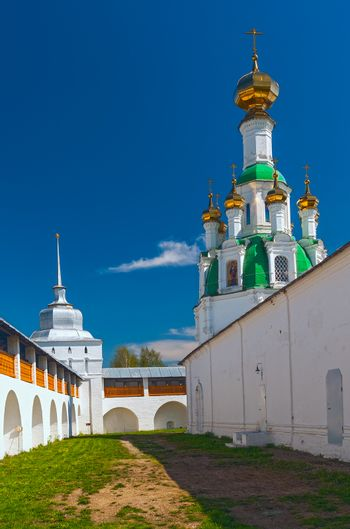 Courtyard white orthodox monastery in a sunny day