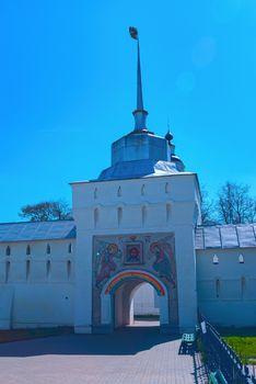 Entrance gate to the white orthodox monastery