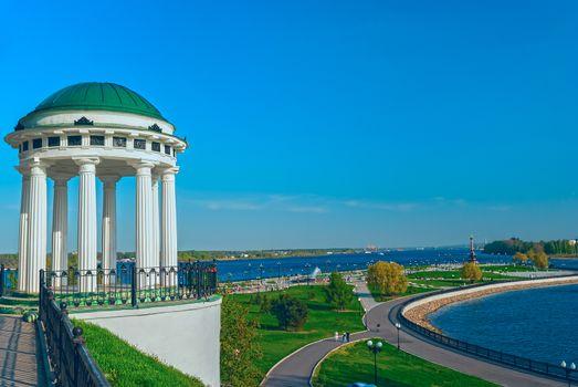 Famous gazebo on the embankment of the Volga river