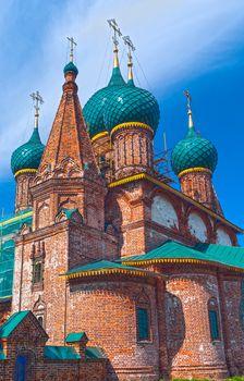Repairing church near Yaroslavl in summer sunny day