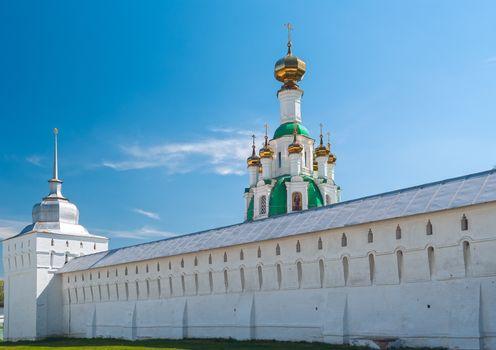 White  Ortodox monastery in sunny spring day