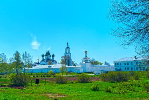 White Monastery near Yaroslavl in the spring sunny day