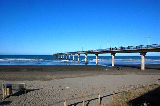 Concrete pier at town New Brighton beach