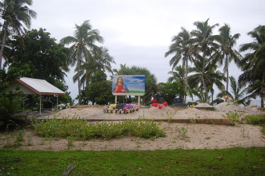 South Pacific island christian cemetery