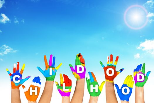 Set of colorful hands with word childhood