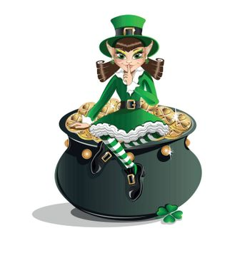 St. Patrick's Day. Leprechaun girl and a pot of gold