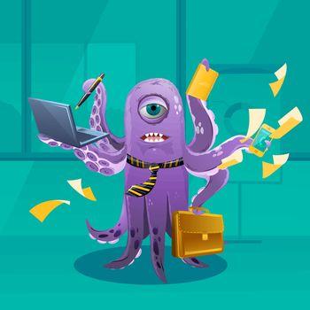 Cartoon Octopus Moster as a Boss