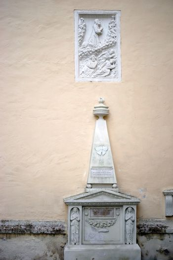Baden, Austria - November 14, 2015: The monument to the master miller Lorenz Rollett at the Church of St. Stephan ornamented with figures on November 14, 2015 in Baden near Vienna.