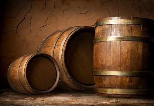 Three wooden barrels
