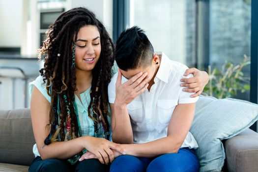 Woman consoling her partner