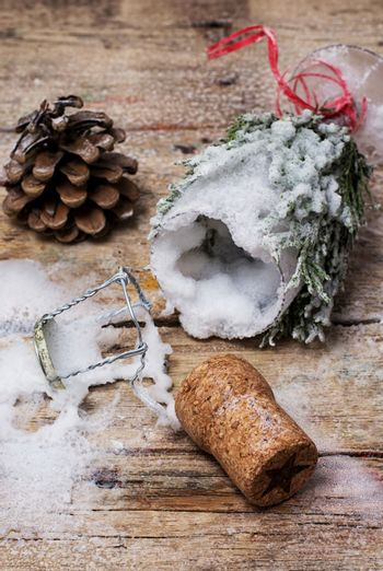 Christmas decorations and toys on wooden background
