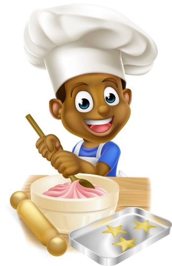 A young black boy kid in an apron and chef hat baking cakes