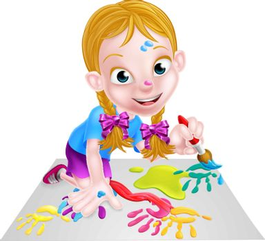 Cartoon little girl painting a picture or having fun with paint and a paintbrush