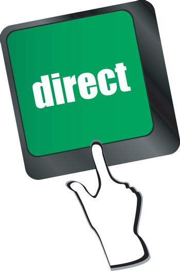 direct - educational concept. Button on Modern Computer Keyboard