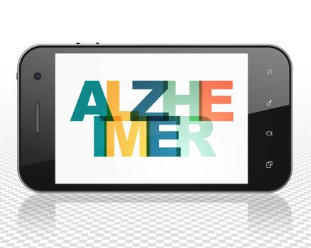 Health concept: Smartphone with Alzheimer on  display