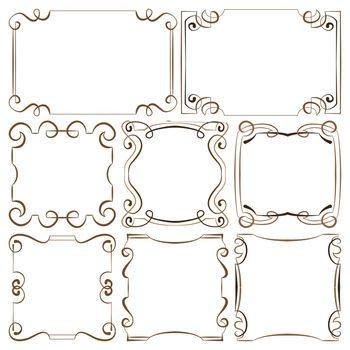 vector illustration. set of decorative multilayer frameworks