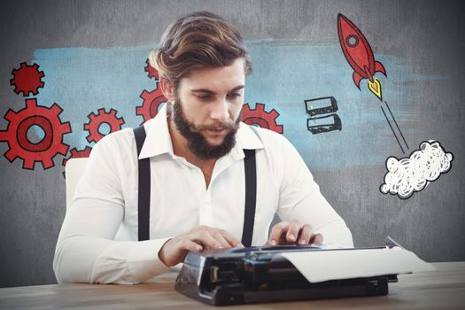 Hipster working on typewriter against white and grey background