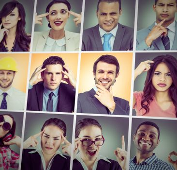 Composite image of happy businessman making ok sign against composite image of young businesswoman getting an idea