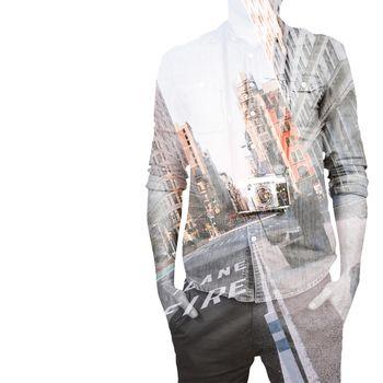 Hipster man holding digital camera against new york street