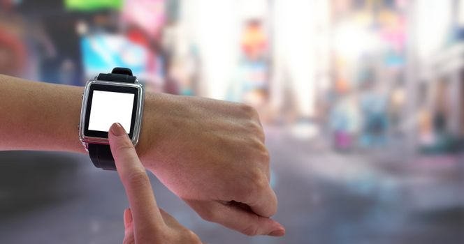 Composite image of smart watch on wrist