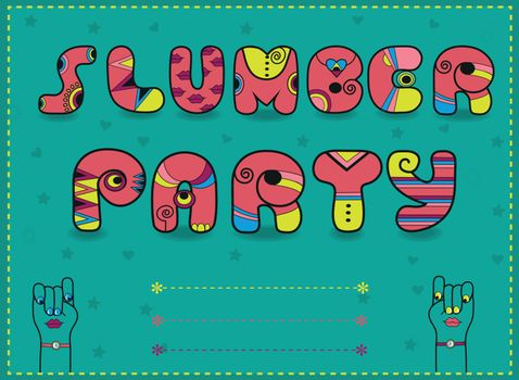 Inscription Slumber Party. Funny pink Letters