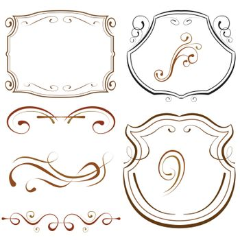 vector illustration. set of elements for design. decorative borders and frames