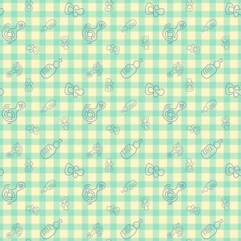 Vector seamless background for baby. Bottle, pacifier, rattle