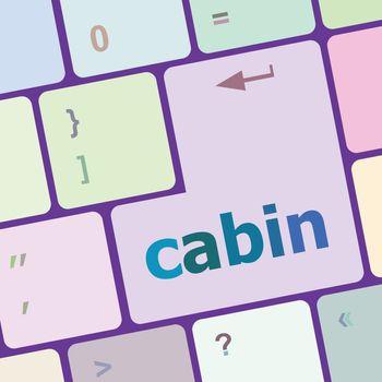 cabin word on computer pc keyboard key vector illustration