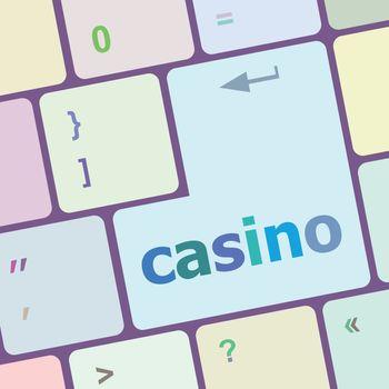 casino word on keyboard key, notebook computer button vector illustration