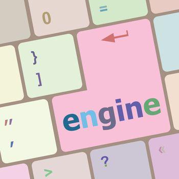 engine word on computer pc keyboard key vector illustration