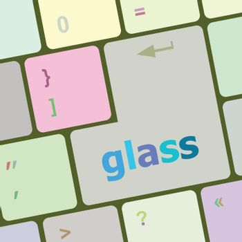 glass word on keyboard key, notebook computer button vector illustration