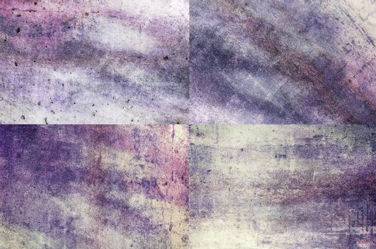 Four purple colored grunge texture backgrounds in one set