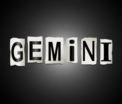 Illustration depicting a set of cut out printed letters arranged to form the word gemini.