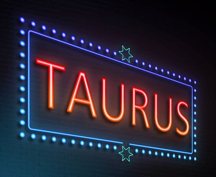 Illustration depicting an illuminated neon sign with a taurus concept.