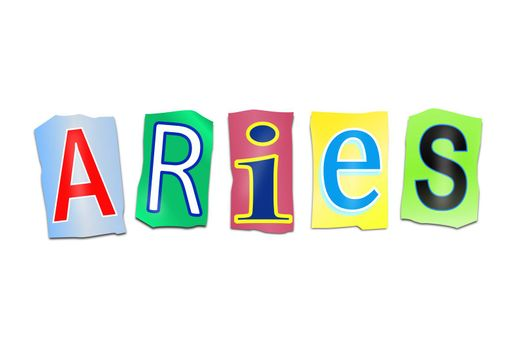 Illustration depicting a set of cut out printed letters arranged to form the word Aries.