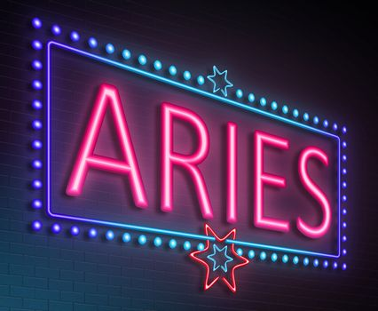 Illustration depicting an illuminated neon sign with an aries concept.